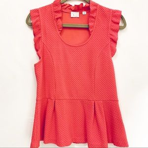 Anthropologie Tops - Postmark Anthropologie Coral Peplum Top - L